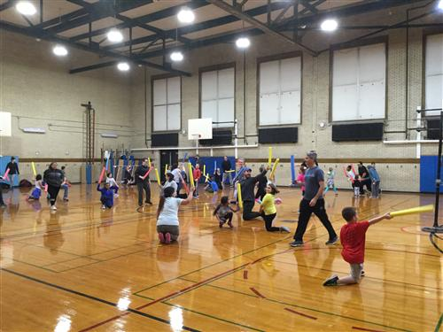 Students and parents at Fitness Night event