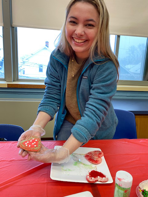 Students decorating cookies