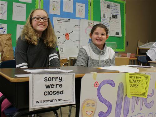Hoover Middle students during Market Day event