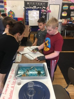 Students participate in oil spill activity