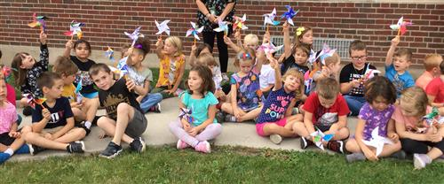 Students with pinwheels
