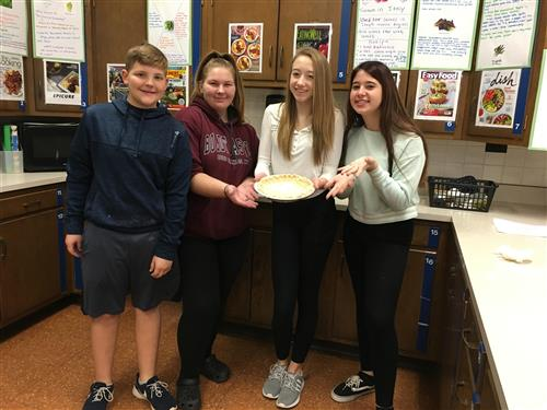 Students with pie crust