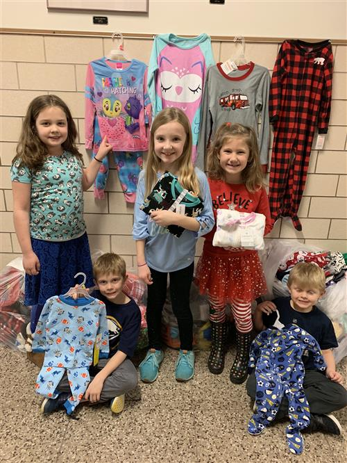 Students with pajama donations