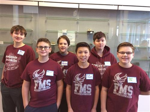 Franklin Middle School Physics Olympics competitors