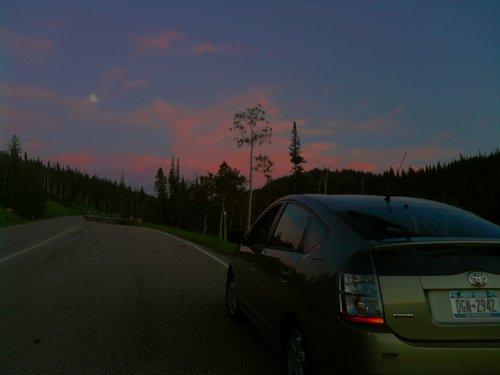 Prius at sunset Utah